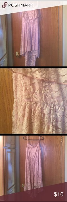 Deb high low dress size Large Beautiful lavender, lace high low dress. I bought it without trying it on, once on me I didn't like the look.  So my impatience is y'all's gain. This dress did come with a belt, that I have since missed places. It also does have a small tear in the lace that can be covered easily with a belt. Deb Dresses High Low