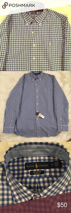 NWT Ralph Lauren Men's blue button down NWT Ralph Lauren men's gingham stretch poplin shirt.  Very soft and lightweight 100% cotton. Perfect to stay cool in summer and still look nice  PS. Ladies- this makes an amazing preppy chic swimsuit coverup for you 😉 Ralph Lauren Shirts Casual Button Down Shirts