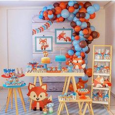 19 super Ideas for decor ideas party simple Fox Party, Baby Party, Baby Shower Parties, Baby Shower Themes, Baby Boy Shower, Baby Shower Decorations, Boy First Birthday, 1st Birthday Parties, Orange Et Turquoise