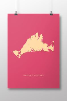 """Martha's Vineyard Map Art Print. Martha's Vineyard: PRINT SIZE currently only offered at 14"""" x 20"""". Fits well in an 18"""" x 24"""" frame with 2.5 - 3"""" matte PAPER Printed professionally on Accent Opaque Cover Smooth 100 lb SHIPPING Prints are shipped flat in sturdy packaging."""