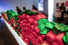 MIRALDA en rosa Merino Wool Blanket, Barcelona, Pink, Ephemeral Art, Art Museum, Exhibitions, Museums, Artists, Barcelona Spain