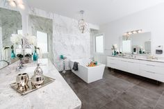 Ensuite #bathroom #ensuite #marble #freestandingtub #contemporary #design #interiordesign #decor #walltile #floortile Interior Design Services, Wall Tiles, Double Vanity, Contemporary Design, Tile Floor, Marble, Bathroom, Projects, Home Decor