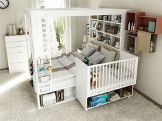 Best baby cribs ideas co sleeper 47 ideas Bed Storage, Storage Spaces, Storage Shelves, Co Sleeper Bed, Best Baby Cribs, Family Bed, Baby Bedroom, Bedroom Setup, Home And Deco