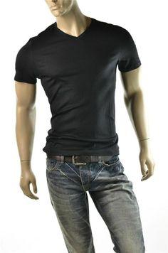 Calvin Klein Shirt Mens Black Liquid Cotton V Neck T Shirts Top Sz L Slim New #CalvinKlein #GraphicTee