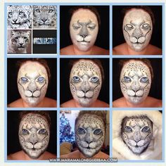 Snow Leopard Animal face paint theme by Maria Malone Guerbaa.
