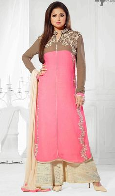 Celebrate your fabulous ethnic look just like Madhubala dressed in this pink and cream georgette chiffon palazzo suit. This attire is very well developed with lace, resham and stones work. #PinkCreamEmbroideredPalazzoSuit