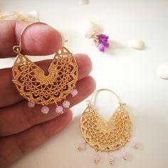 """A beautiful pair of stainless steel gold lace earrings with 3mm crystal beads."" Lace Earrings, Earrings Photo, Wedding Earrings, Heart Earrings, Statement Earrings, Crochet Earrings, Gold Lace, Crystal Beads, Hippie Boho"