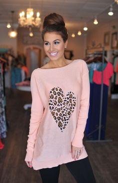 Dottie Couture Boutique -  Peach Heart Sweater, $38.00 (http://www.dottiecouture.com/peach-heart-sweater-1/)