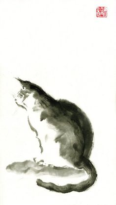 Sumi-e: Cat. (Sumi-e aims to capture the essence of things).