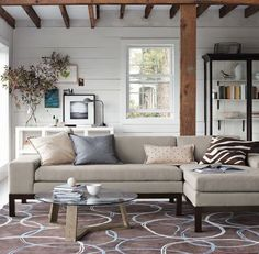 love the mix of white and natural wood.
