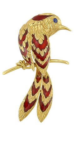Gold, Red Enamel and Sapphire Bird Clip, Cartier, Paris The stylized bird applied with textured gold and red enamel feathers, accented by one round sapphire eye, signed Cartier, Paris, no. 017375, with maker's mark and French assay mark, approximately 11 dwts.