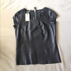 AllSaints Spitalfields 100% Leather Dash Tee Sz 4 AllSaints 100% Genuine Leather Jet Black Dash Tee. New with Tag never worn! Flawless As shown in pics. Very beautiful soft Leather with full zipper back. Nice fit, will absolute fall in love!  Women's Size UK 8, US 4, EU 36 NOTE:Depending on look-style preference, can fit up to a size 6. All Saints Tops