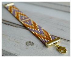Chevron Delica Beaded Loom Bracelet in Persimmon by ThreadAndRock