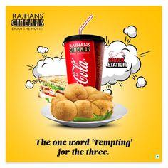 The one word 'Tempting' for the three. #SnackStation  #RajhansCinemas #EnjoyTheMovie