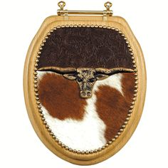 Longhorn & Tooled Leather Toilet Seat