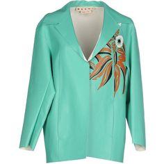 Marni Blazer (274.990 RUB) ❤ liked on Polyvore featuring outerwear, jackets, blazers, light green, blue leather jacket, leather blazer, leather jacket, leather blazer jacket and long sleeve blazer