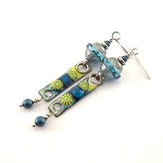 Blue and Yellow Flowers Earrings  Silver by CinLynnBoutique