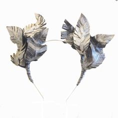 IVANA- Metallic Diamonte Leather Leaf Headpiece- Natalie Bikicki by NatalieBikickiHats on Etsy https://www.etsy.com/au/listing/292071107/ivana-metallic-diamonte-leather-leaf