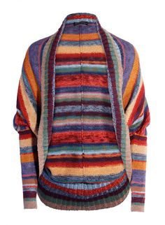 Kaffe Fassett's gorgeous art knit cardigan is striped in dozens of tweeded, sun-drenched hues of pima. Handframed in a cocoon style, with a ribbed placket, exaggerated drop shoulders and rib-knit sleeves.