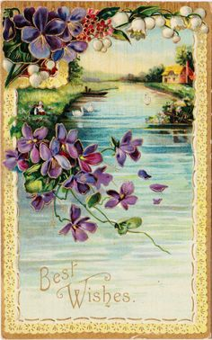Landscape Water Swans Purple Violets Lily of The Valley Embossed | eBay