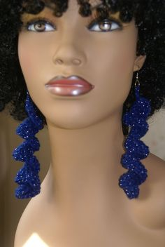 Spiral Crochet Earrings Blue Sparkle by tjgabby1 on Etsy, $10.00