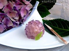 Wagashi: Ajisai, Hydrangea - made with agar jelly and white bean paste (step-by-step)