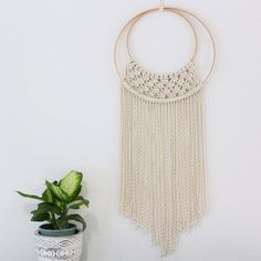 Hoop macrame wall hanging  Made with 100% natural cotton rope  Size:  30cm wide x 70cm long