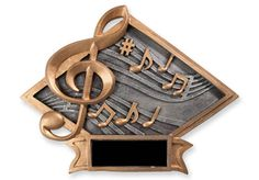 """MUSIC DIAMOND PLAQUE Large - Resin with easel back and hook for hanging. For tabletop or wall display. 8.25"""" x 6.25""""."""