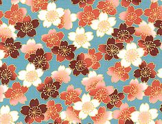FLOATING CHERRY BLOSSOMS: BLUE/CINNAMON/GOLD ASIAN JAPANESE FABRIC EBAY - I want to use some interesting fabric to make some curtain treatments.