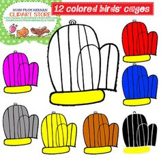 12 Colored Birds' Cages Clipart Set 8 for Personal and Com