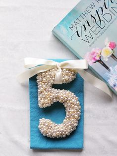 DIY Pearled Number Can be used as Table Numbers, Cake topper. Can also make letters and hang from Chairs, trees, etc... The possibilities are endless!
