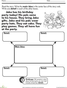 Reading Comprehension Main Idea Worksheets For Second Grade - 1000 ...