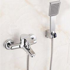 Nutida Badkar och dusch Regndusch Handdusch inkluderad with Keramisk Ventil Enda handtag Två hål for Krom Duschblandare Badkarsblandare