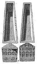 Tombeau de Clovis I° et Ste Clotilde. - CLOTILDE 1) BIOGRAPHIE,  2) DECES : Clotilde termina ses jours dans la piété, auprès du tombeau de St Martin, à Tours, où elle mourut, le 3 juin 544, 545 ou 548. Elle fut inhumée par son fils Childebert à Paris aux côtés de son époux Clovis et auprès de ses parents, dans le sacrarium de la basilique des Sts-Apôtres, futur abbaye de Ste Geneviève, qu'elle avait contribué à fonder.