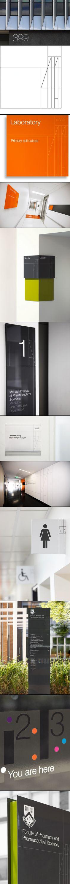 Excelente trabajo de señaletica -Monash Pharma Signage Program – by Hofstede Design