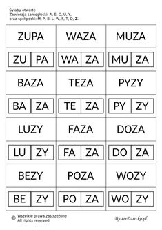 Proste wyrazy z podziałem na sylaby otwarte do nauki czytania metodą sylabową Polish Language, Syllable, Math For Kids, Kids Learning, Spelling, Montessori, Homeschool, Therapy, Letters
