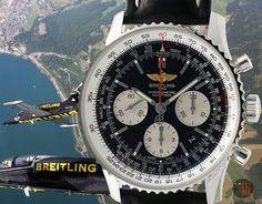 """Air Patrol Cruising!"" #Breitling 43mm Navitimer 01 Chronograph Black Dial Ref#: AB012012/BB01  ($6,325.00 USD) http://www.elementintime.com/Breitling-Navitimer-AB012012BB01-Stainless-Steel-Black-Dial-NIB"