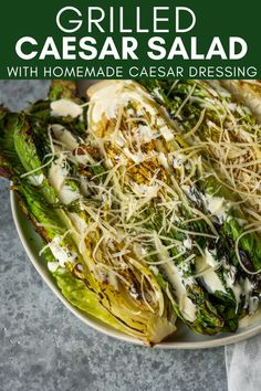 Use this Grilled Caesar Salad with Homemade Caesar Salad Dressing recipe to make the perfect summer salad. Enjoy grilled romaine with a tangy caesar dressing and lots of parmesan cheese on the side of your grilled meats. Homemade Caesar Salad Dressing, Salad Dressing Recipes, Grilled Romaine Salad, Beef Lettuce Wraps, Summer Grilling Recipes, Eat Pizza, Grilled Meat, Summer Salads, Kitchen Recipes