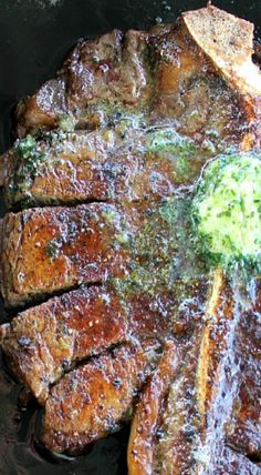 Porterhouse Steak with Parsley Shallot Butter