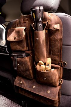 Handmade Leather Seat-Back Organizer Ketzal Bags was formed after founder, Miles. : Handmade Leather Seat-Back Organizer Ketzal Bags was formed after founder, Miles. Truck Accessories, Leather Accessories, Leather Jewelry, Leather Tooling, Cowhide Leather, Leather Seats, Leather Totes, Leather Purses, Leather Craft