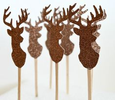 Cupcake Toppers, Glitter Deer Buck Head, Dessert Toppers, Buck and Doe Food Picks, Sandwich Picks, Birthday Party, Country Weddings, 12 Pcs