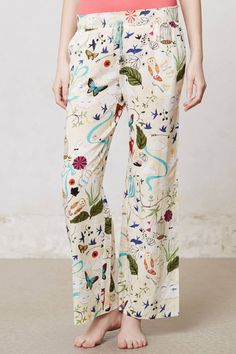 Owl and woodland creatures print on Pajamas by Rebecca Rebouche for Anthropologie