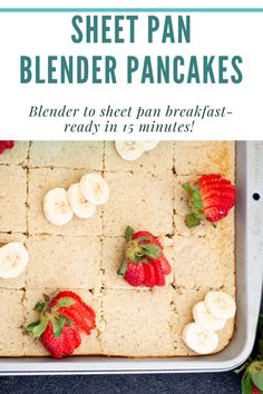 These pancakes are whipped up in a blender, and then poured into a sheet pan, making this quick and easy healthy breakfast ready in 15 minutes! These sheet pan pancakes are made with oatmeal and honey so they are the perfect healthy school breakfast! School Breakfast, Clean Eating Breakfast, Make Ahead Breakfast, Easy Healthy Breakfast, Pancakes Easy, Breakfast Pancakes, Breakfast Casserole, Waffle Recipes, Casserole Recipes
