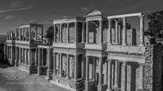 Ancient words by _Neo_World_  Badajoz Espana España Europe Extremadura Mérida Spain ancient architecture art black and white byn c