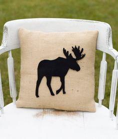 Decorative Felt Moose Silhouette Burlap Pillow by lollipoppillows