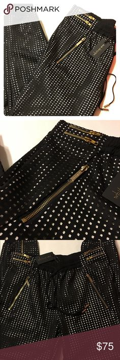 🌹NWT Whitney Eve laser cut joggers. NWT Whitney Eve laser cut elastic waist joggers. Front hip pockets with gold zippers. Elasticized ankle with gold zipper. Gold zippers detail. Size M. Color Black/white. Whitney Eve Pants Track Pants & Joggers