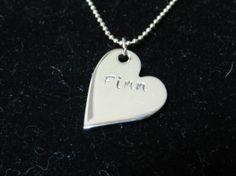 Personalized stainless steel heart necklace by LoveLsJewels, $15.00