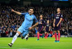 Manchester City's Ilkay Gundogan celebrates after scoring the equalising 11 goal against Barcelona during the UEFA Champions League Group C football...