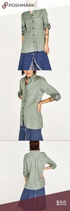 Zara khaki colored military shirt 100% lyocell... love shoulder and sleeve tabs Zara Tops