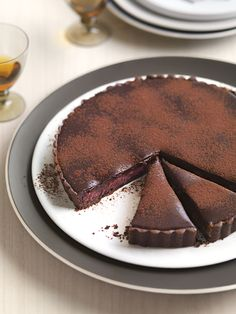 rhubarb + dark chocolate tart.